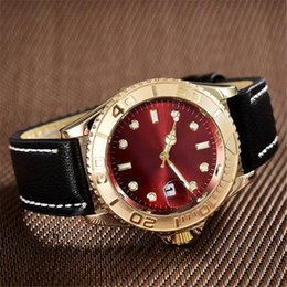 Wholesale leather watch red face - high quality luxury brands aaa watches gold face red black dial automatic watch women designer bracelet belts leather strap quartz clock gmt