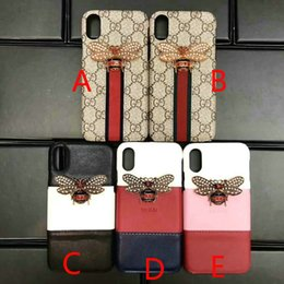 Wholesale iphone cases bees - Luxury brand new printed English letter G 3D metal bee phone case cover for iphone X 7 7plus 8 8plus 6 6plus 6S hard back cover