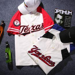 Canada Livraison gratuite maillots de baseball Tyga 2015 Tee-shirt hip hop t-shirt rayures patchwork cheap tee shirts tyga Offre