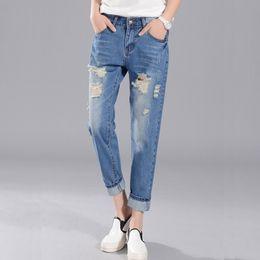 2e1606f13f4 26-34 Big Size Loose Hole Jeans Female Thin Summer scratch Worn Nine Korean  haren pants Ripped Girl baggy jeans True Blue Jean