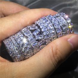 925 побитых камнями колец онлайн-9 стили Марка палец кольцо 5A Cz Sona камень стерлингового серебра 925 обручальное кольцо Кольцо для женщин мужчины палец ювелирные изделия