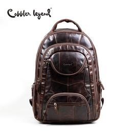 Wholesale Cow School Bags - Wholesale- Cobbler Legend Famous Brands 2016 Men Large Capacity Cow Leather backpack Big Size Travel Bags backpacks student school bags ##