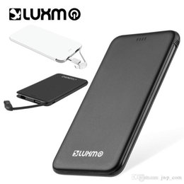 Wholesale thin usb cable - Power Bank 5000 mAh Built in Cable Universal Slim Ultra Thin Portable USB Powerbank Custom External Battery Charger 2 Adapter LUXMO