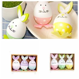 Wholesale Rabbit Ornament - 3pcs 1set Plastic Easter Eggs Rabbit Easter Decoration Arts Crafts Easter Bunny eggs Decor Gifts Toys Home Party Event Ornament KKA4454