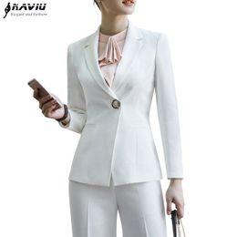 Blazer blanco pantalones negros ropa formal online-Moda pantalones blancos negros se adapte a las mujeres 2018 nueva formal de negocios de manga larga chaqueta delgada y pantalón damas de la oficina ropa de trabajo