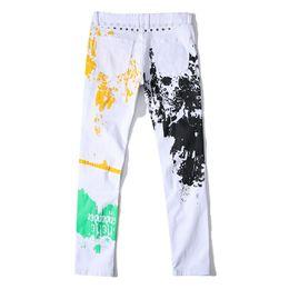 jeans di colore maschile Sconti Il commercio estero Metrosexual jeans maschio stella bandiera stampata pantaloni stampa a colori pantaloni bianchi per gli uomini