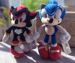 Wholesale Sonic Doll - 28CM Cartoon Sonic The Hedgehog Plush Stuffed Toy Doll Black Shadow Sonic Doll With Suction Cup 1PCS