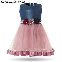 Wholesale White Knee Length Frocks - Cielarko Baby Girls Dress Infant Flower Dresses for Birthday Party Formal Denim Tulle Design Ball Gown Toddler Girl Fancy Frocks
