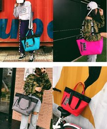 Wholesale ladies leather beach bag - HOT PINK Handbags Nylon Bag Letter Printing Women Gym Travel Beach Shoulder Bag Top Quality Best Gifts Bags Luxury Famous Brand Free Ship