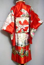 Il vestito da sera di Yukata del fiore del raso del kimono di seta giapponese delle donne giapponesi d'annata calde di vendita un formato libera il trasporto H0003 supplier red silk yukata da yukata seta rossa fornitori