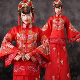 2019 chinesischer roter rock Chinesischen Stil Rote Brautkleider Frauen Braut Kleid Chinese Folk Kostüm Weibliche Tang Anzug Tops + Rock Film Kostüm 16 günstig chinesischer roter rock