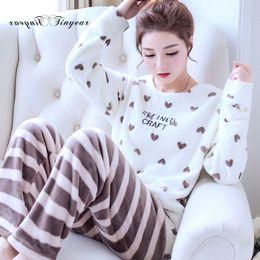 Wholesale Girls Nightgown Sets - Tinyear women fleece pajamas Large size M-2XL Full sleeve Round neck Winter pajama for girls Sleeping set 6 colors optional