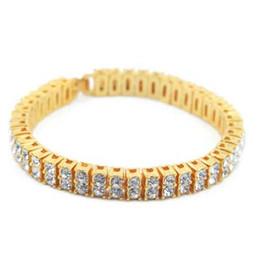 Wholesale Bracelet Mens - Mens hip hop jewelry blingbling crystal bracelets European and American style rhinestone hiphop chain bracelets accessories