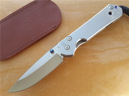 titanium folder knife Coupons - Chris Reeve CR Classic Large Sebenza 21 knife D2 steel blade 59HRC Plain clip point EDC Tactical knife Titanium alloy Folder with case