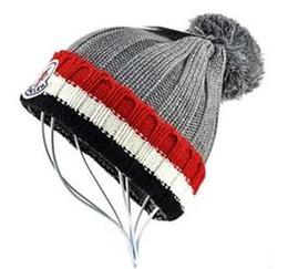 Argentina Envío gratis Winter MON marca hombres mujeres unisex beanie hight calidad Casual tejer sombrero esquí Gorro Bonnet pom-pom gorra sombreros con etiqueta original Suministro