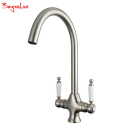 Wholesale black single handle kitchen faucet - Unique Style Fantastic Quality Single Hole Dual Black Handle Monobloc Solid Brass Kitchen Taps Cold And Hot Mixer Kitchen Faucet
