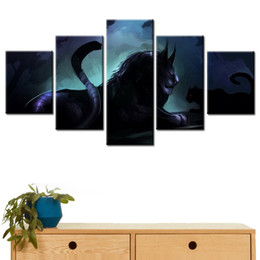 pinturas mágicas Rebajas Lienzo HD Prints Pictures Home Decor Living Room 5 Piezas Dark Lion Paintings Arte de la pared Magical Animal Monster Pósteres Framework