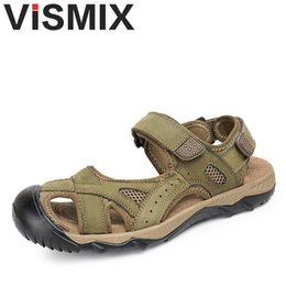 Wholesale Real Injection - VISMIX New Arrival Summer Men's Sandals High Quality Real Leather Mens Shoes Slippers Beach Walking Casual Shoes Big Size 38-47