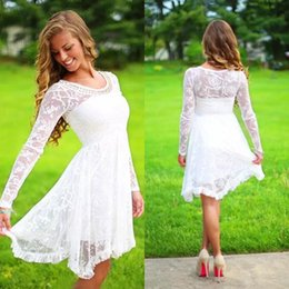 Wholesale Casual Country Wedding Dresses - Short Casual Country Wedding Dresses With Long Sleeves Crystal Neckline Knee Length Full Lace Wedding Gowns Short Beach Be Bridal Gowns 2017