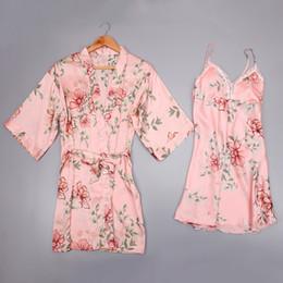 2019 vestido de mulher pijama sleepwear 2 peça vestido de robe definir night dress elegante mini roupão de banho mulheres apanese kimono lace sexy feminino pijamas nighties pijama set vestido de mulher pijama sleepwear barato