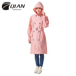 Wholesale trench coat waterproof woman - QIAN RAINPROOF Impermeable Raincoat Women EVA Waterproof Trench Coat Windbreaker Detachable Hooded Poncho Rainwear Rain Gear