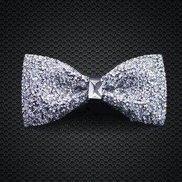 Wholesale silk tie box sets - Men Bow Ties Adjustable Silk Butterfly Crystal White Bow Tie Gift Box Bowtie Men Formal Wedding Party F-202