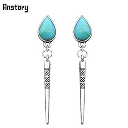 Wholesale Wholesale Pine Needles - Drop Stone Pine Needles Dangle Pendant Earrings Stud For Women Antique Silver Plated Fashion Jewelry