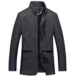 Wholesale Gray Wool Jacket High Collar - Winter Men Brand Jacket Wool Coats Slim Fit Jackets Fashion Outerwear Warm Man Casual Jacket Overcoat Pea Coat High Quality