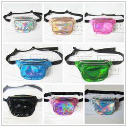 Wholesale Laser Hologram - 8 Colors Waterproof Laser Fanny Pack Hip Waist Pack Unisex Waist Belt Bag PU Hologram Money Belts Travel Waist Bag CCA9365 10pcs