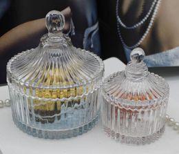 Wholesale pagoda glass - Wedding candy box Gransparent glass Crystal Wedding decoration Pagoda Lace Ribbon Upscale Fashion Wave Put on table