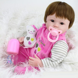 Wholesale High End Dolls - 45cm Lovely Handmade baby reborn doll toys, birthday gift for kids, high-end girl brinquedos silicone reborn babies boneca