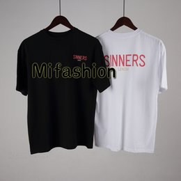 Wholesale quality tees - 18ss Luxury Europe Milano Paris High quality Oversize Tshirt Fashion Men Women Sinners Golden Print T Shirt Casual Cotton Tee Top