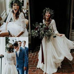 Wholesale Top Fall Winter Wedding Dresses - Beautiful Long Sleeve A-Line Two Pieces Beach Country Wedding Dresses 2018 Chiffon Ruffles Lace Top Boho Custom Made Bohemian Bridal Gown