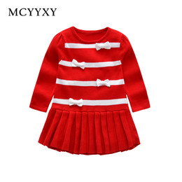 Niñas cardigans de primavera online-MCYYXY Little Girls Knitwear Dress Sweater Falda plisada Cárdigan con lazo Kids Jumper Spring Cute Brand