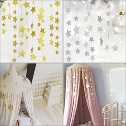 fach zelt typ moskitonetz Rabatt Goldsterne hängende Dekoration Girlande Banner Pastell Star Garland Bunting für Hochzeiten Party Kinderzimmer Mosquito Nets Room