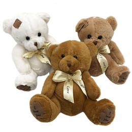Wholesale wedding soft teddy bears - 3pcs lot 15cm Patch Bear Dolls Teddy Bear Soft Toy Popular Stuffed Toy Wedding Gifts Baby Toy Birthday gift brinquedos Soft toys