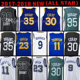 Wholesale Draymond Green - 2018 New 30 Stephen Curry 35 Kevin Durant Jersey All Star 23 Draymond Green 11 Klay Thompson 9 Andre lguodala Basketball Jerseys