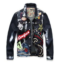 2019 giacca di jeans di disegno degli uomini Giacca in denim uomo solido casual slim fit bomber autunno inverno jean giacche per uomo graffiti graffiti hip hop giacche da uomo plus size giacca di jeans di disegno degli uomini economici