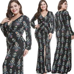 Bohemian tamanho grande vestido estampa floral aberto v pescoço fenda longo vestido feminino outono e inverno novo de