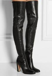 Calcanhares grossos on-line-2018 Mais Novo Preto Inverno Mulheres Coxa Alta Botas De Salto Grosso Sobre o Joelho Botas de Alta Qualidade Mulheres Sapatos