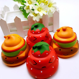 Wholesale green modeling - Simulation Strawberry Squeeze Squishies Green Leaf Shit Modeling Cell Phone Charm Scented Slow Rebound Squishy Popular 7 5bq BW
