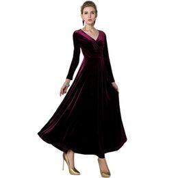 samtkleider midi Rabatt Heißer 2017 Frauen Winter Vintage Kleid langarm Samt  Kleid V-ausschnitt Kleider bcf56e962c