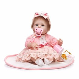 Wholesale Play House For Girls - 40cm Slicone reborn baby doll toy play house bedtime toys for kid girls brinquedos soft body newborn babies collectable doll