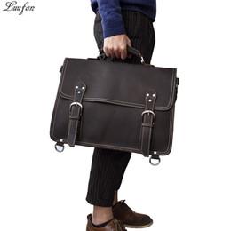 использованные сумки из натуральной кожи Скидка Старинные мужчины портфель многофункциональный Crazy horse натуральная кожа ноутбук сумка большой емкости сумки на ремне 3 использовать мужской дорожные сумки
