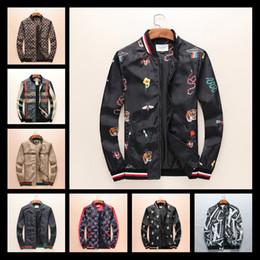 Wholesale Luxury Men Winter Jacket - 2018 Winter Luxury Fashion Brand Windbreaker Jacket Medusa Floral Print Jackets Men Casual Long Sleeve Outerwear Hooded Jackets Coats M-3XL