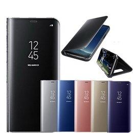 Canada Étui de protection métallique étui à rabat de fenêtre de miroir métallique intelligent de support pour iPhone XS Max XR X 8 7 Plus Samsung Galaxy S10 E S9 S8 Offre