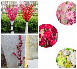 Wholesale cherry plum blossom - 125cm Artificial Cherry Spring Plum Peach Blossom Branch Silk Flower Tree Decor For Wedding Party 1 Piece DDA484