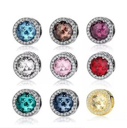 Wholesale Silver Charm Bracelet Pink - Authentic Real 925 Sterling Silver Cubic Zirconia European Charms Bead Fit Pandora Bracelet DIY Fashion Jewelry 12pcs lot You can mix Colors