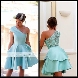 Wholesale Mint Short Homecoming Dress - Mint Short Homecoming Dresses 2018 One Shoulder Mini Party Dress Prom Gowns with Illusion Back New Arrival