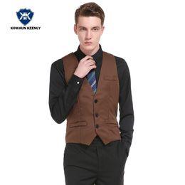 abito classico di colore navy Sconti 5 Colour Gentlemen Formal Suit Gilet per uomo Slim Gilet Gilet da sposa Business Dress Classic Gilet Nero Navy Khaki